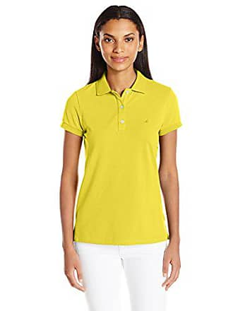 b2f8696c4 Nautica Womens Short Sleeve Stretch Solid Polo Shirt, Pineapple Small