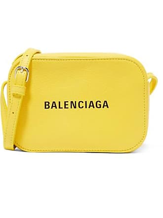 Balenciaga Everyday Xs Aj Printed Textured-leather Camera Bag - Yellow
