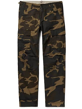 Carhartt Work in Progress Aviation Slim-fit Camouflage-print Cotton-ripstop Cargo Trousers - Army green