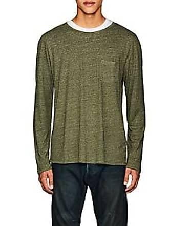 Barneys New York Mens Heathered Linen-Blend T-Shirt - Olive Size XL