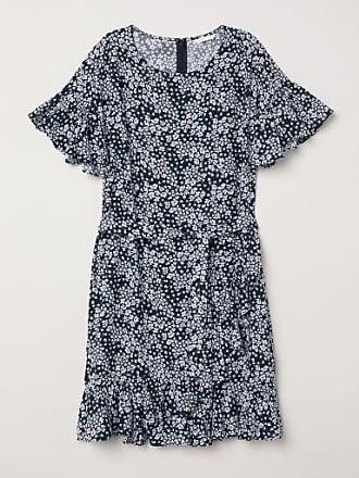 H&M Patterned Flounced Dress - Blue