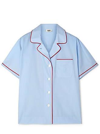 Sleepy Jones Corita Cotton-poplin Pajama Shirt - Light blue