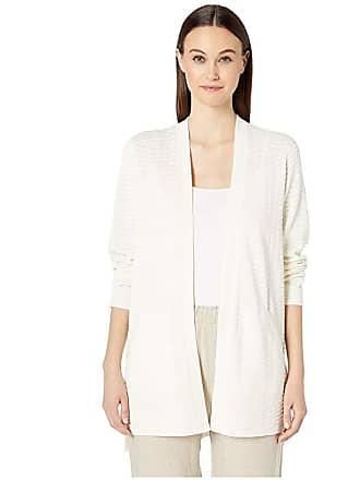 Eileen Fisher Silk Organic Cotton Simple Cardigan (Ivory) Womens Clothing
