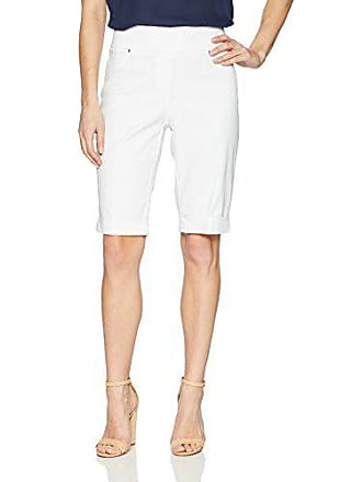 Ruby Rd. Womens Pull-on Extra Stretch Cuffed Denim Short, White, 6