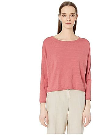 cccda92083d Eileen Fisher Organic Linen Crepe Stretch Jewel Neck Box-Top (Chutney) Womens  Clothing