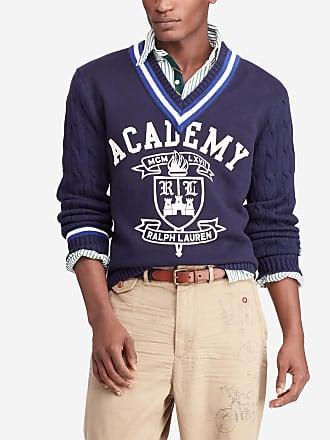 aea2fa42b5d Polo Ralph Lauren Pull en coton col en V Cricket Academy Bleu Polo Ralph  Lauren