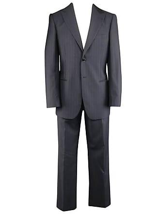 5119a7d85cd6 Giorgio Armani Mens Giorgio Armani 40 Regular Navy   Brown Pinstripe Wool  32 32 Suit