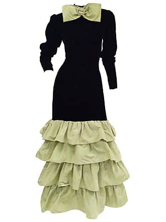 8b9dd5ccde Givenchy Black Velvet And Green Taffeta Silk Bow Evening Dress
