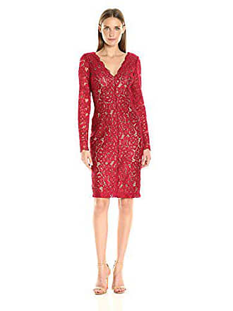 8d7837aa0f3a Vera Wang Womens Lace Long Sleeve Shift Dress, Red Nude, 10