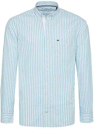f5b60c945865 Tommy Hilfiger Mens Regular Fit Striped Oxford Shirt XXL Aqua