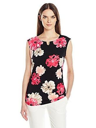 Calvin Klein Womens Printed Cap Sleeve Top with U Hardware, Black/Rose, M