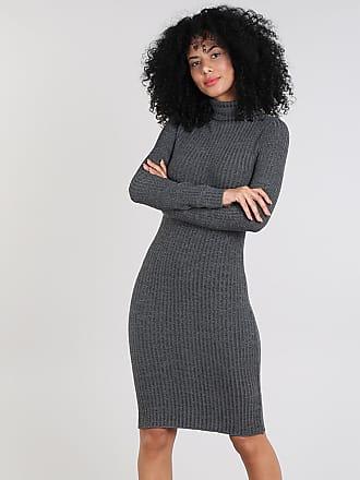 9a09c5067331 C&A Vestido Feminino Curto em Tricô Manga Longa Gola Alta Cinza Mescla  Escuro