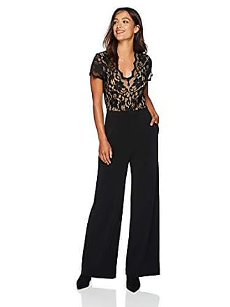 Karen Kane Womens Contrast LACE Jumpsuit, Black with Nude, Large