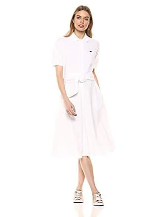 Lacoste Womens S/S Belted Classic Pique Polo Dress, White, 10