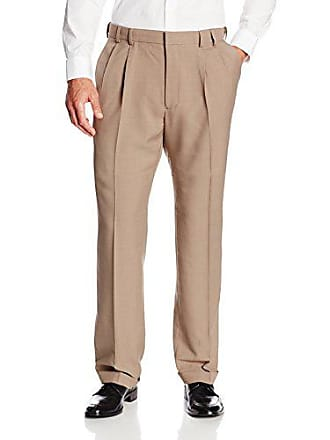 Van Heusen Mens Big & Tall Cuffed Crosshatch Pant, Chestnut, 46W x 29L