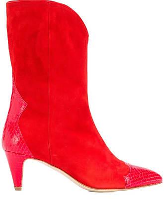 The Seller snake embossed detailed boots - Vermelho