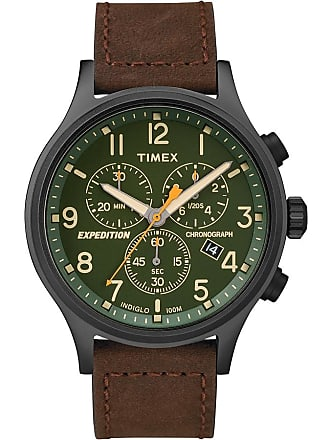 Timex Watch Mens Expedition Scout Chronograph 42MM Leather Strap Black/brown/green Item Tw4B158009J