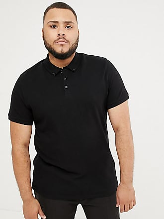 47f355e294a Asos Plus pique polo with button down collar in black - Black