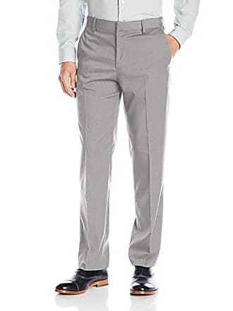 Van Heusen Mens Premium No Iron Straight Solid Fit Flat Front Pant, Silver Grey, 30W x 30L