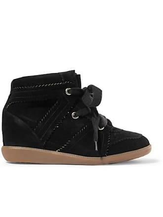 Isabel Marant Bobby Suede Wedge Sneakers - Black