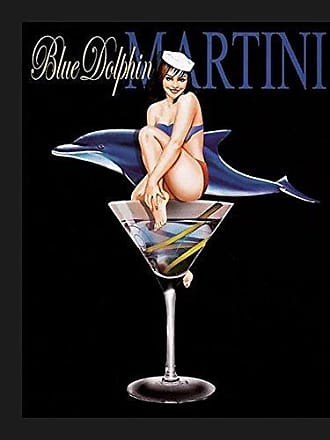Buyartforless Framed Blue Dolphin Martini by Ralph Burch 14x11 Art Poster Print Sexy Drink Glass