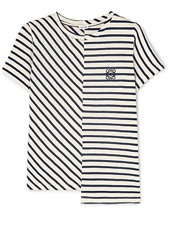 45ab7f0c1bd Loewe Asymmetric Embroidered Striped Cotton-jersey T-shirt - Navy