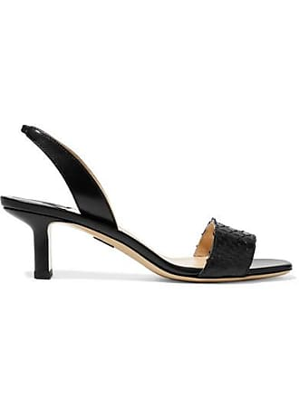 PAUL ANDREW Longo Leather And Python Slingback Sandals - Black