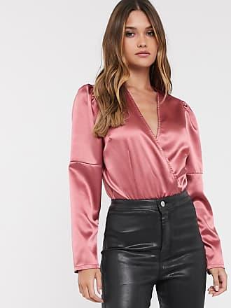 Unique21 Unique21 wrap over satin bodysuit-Pink