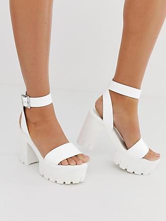 Asos Weiße Sandalen mit auffälliger Plateausohle und Absatz