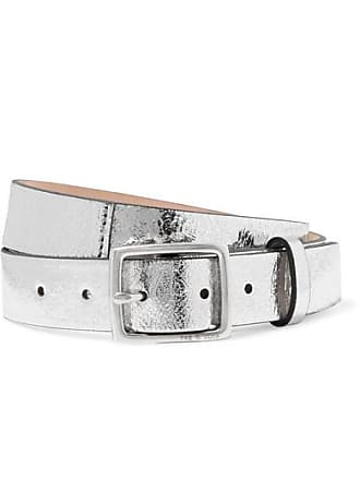 Rag & Bone Boyfriend Metallic Crinkled-leather Belt - Silver
