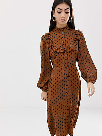 Fashion Union Petite midi shirt dress floral - Tan