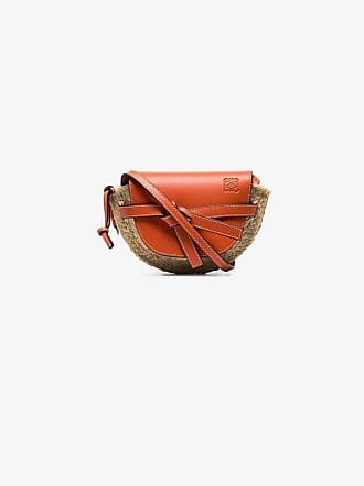 Loewe orange and beige gate leather and raffia mini shoulder bag