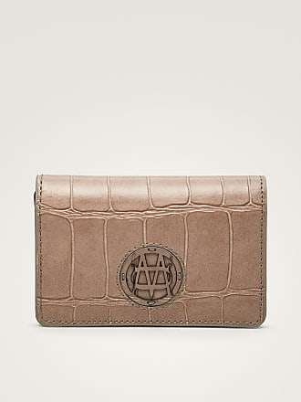 MASSIMO DUTTI LEATHER CARD HOLDER WITH MOCK CROC FINISH
