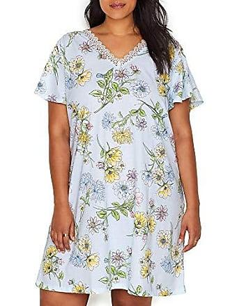 Karen Neuburger Womens Plus Size Pajama Short Sleeve Pj Sleepdress, Floral Light Blue, 1X