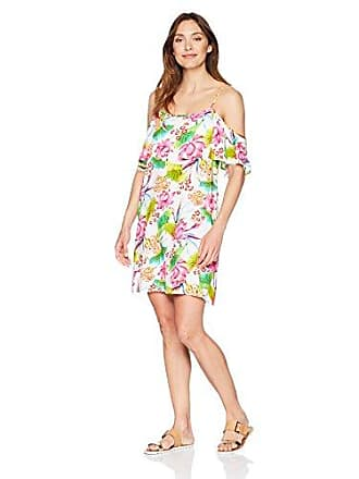 La Blanca Womens Flutter Sleeve Cover-Up Dress, White/Pink/Green/Floral Print Medium