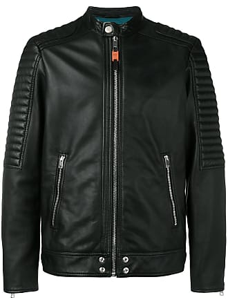 Diesel Panelled leather biker jacket - Preto
