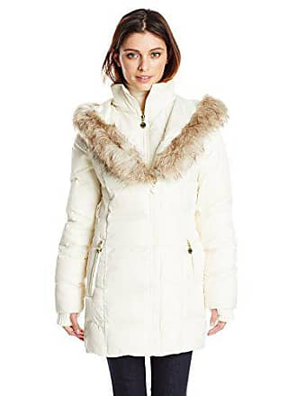 607228691a8 Betsey Johnson Womens Mid Length Puffer Coat with Faux Fur Hood