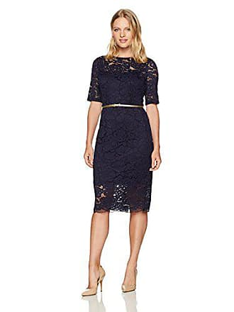 Ellen Tracy Womens 3/4 Sleeved Lace Dress with Self Belt in Petite, Navy, 8P