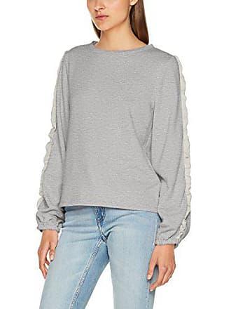 71e842a49a86d2 Only Damen Sweatshirt onlMISTY L/S O-Neck Ruffle SWT Grau (Light Grey