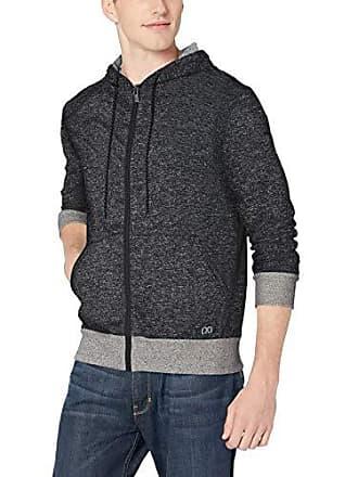2(x)ist Mens Asymmetrical Hooded Sweatshirt Sweater, Speckled Black, Large