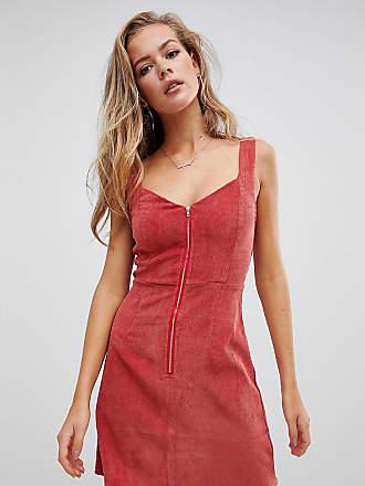 3bafc155739 Missguided Robe courte à fermeture éclair en velours côtelé - Rouille -  Rouge