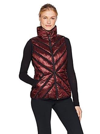 Andrew Marc Womens Chevron Puffer Vest, Metallic/Burgundy, XL