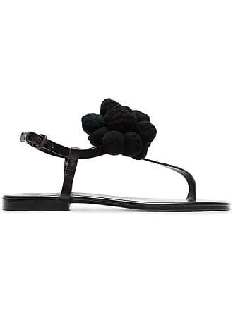 ÁLVARO GONZÁLEZ black Arjan pom pom leather sandals