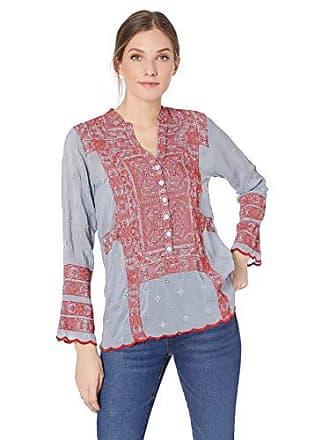 Johnny Was Womens Mandarin Collar Tunic with Embroidery, Cloudburst, XL