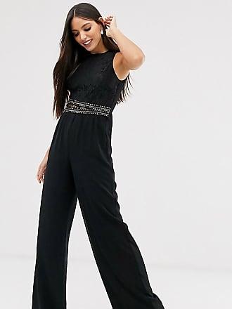 Little Mistress Tall upper detail jumpsuit-Black