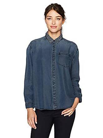 Calvin Klein Jeans Womens Long Sleeve Denim Button Down Shirt, Blue Magic, Medium