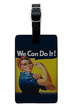 Graphics & More Graphics & More Rosie The Riveter-War Poster Leather Luggage Id Tag Suitcase Carry-on, Black
