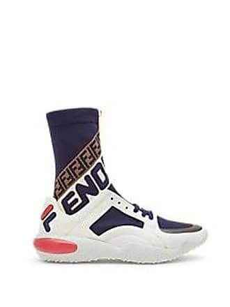 58daef0c02a338 Fendi Mens Fendi Mania Leather   Knit Sneakers - White Size ...