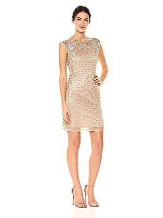 d2f62f3f6e55 Parker Womens Montclair Sleeveless Fitted Beaded Mini Dress, Sand, 10