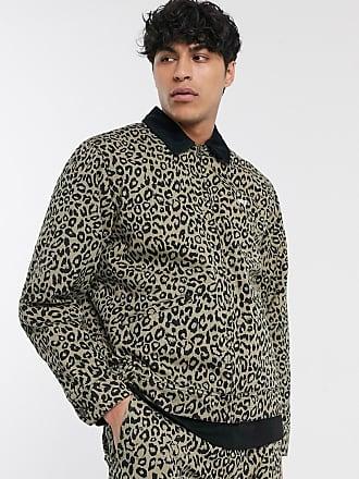 Obey Reid leopard print sherpa-lined jacket in khaki-Navy